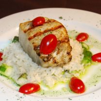 Sea Bass with Summer Tomatoes, Red Onion and Mint